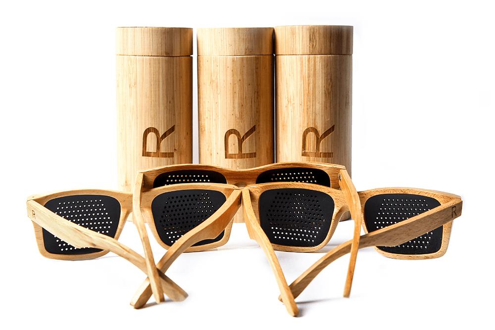 houten rasterbrillen